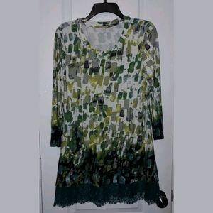 M LOGO by Lori Goldstein Print Lace Trim Tunic